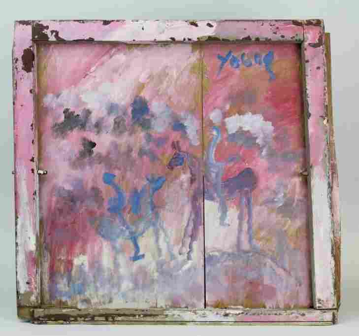 Purvis Young Spirit Horses Folk Outsider Art Painting.