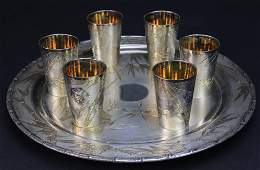 Japanese 800 Silver Gold Bamboo Sake Cups w/ Tray 1233g