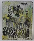 Signed Purvis Young Spirit Horses Outsider Art Painting