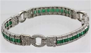 Deco Style 18k Gold 5.5 Ct Tw Diamond Emerald Bracelet