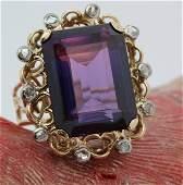Stunning 18k Gold Sapphire Rose Cut Diamond Ring Sz 6.5