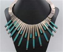50s TAXCO Sterling Silver Turquoise Sunburst Necklace