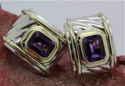 PAIR David Yurman 14k Sterling Silver Amethyst Earrings
