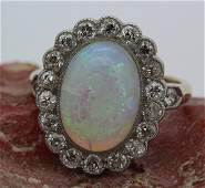 Ladies Victorian Era 14k Platinum Opal & Diamond Ring