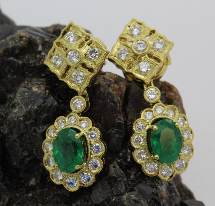 Pair of 18k Gold 2.5 Ct Tw Emerald & Diamond Earrings