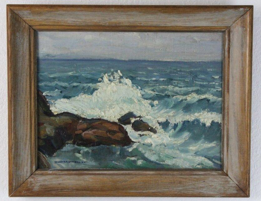 Signed William Lester Stevens Coastal Seascape Painting