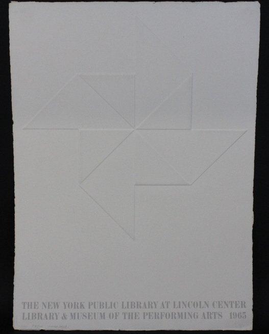 Signed L.E. Omar Rayo Lincoln Center Embossed Paper Art