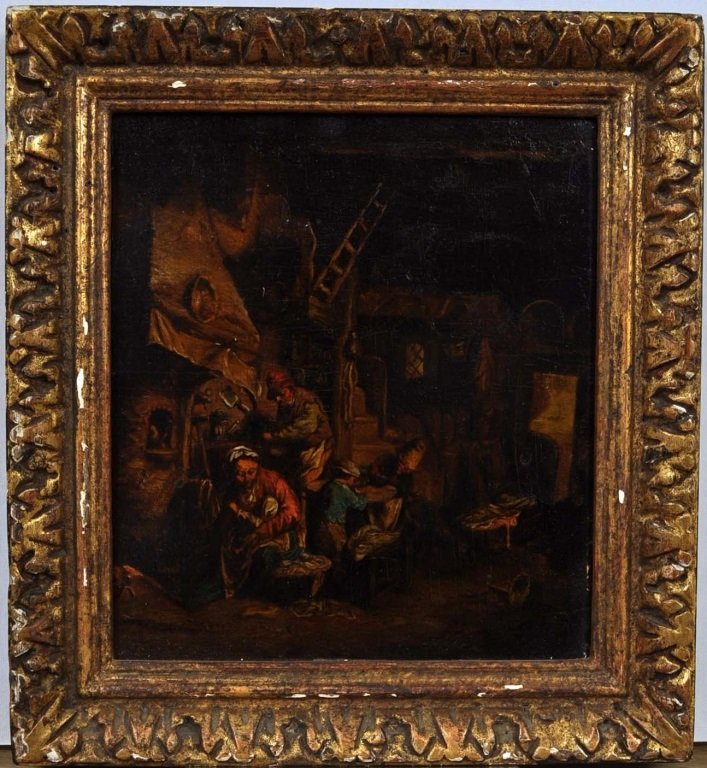 1640's Circle Adrian van Ostade The Family Oil Painting