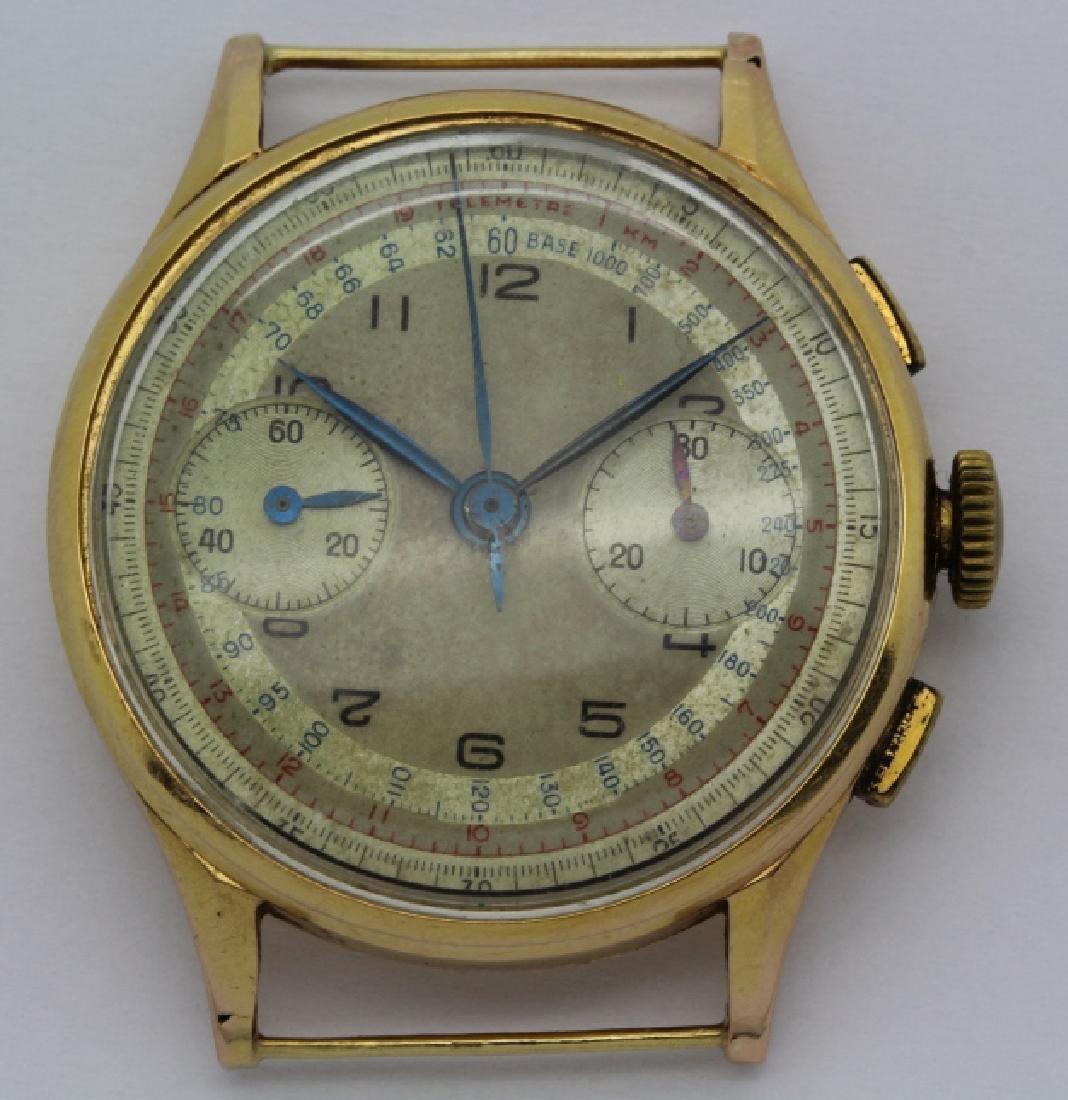 Men's VTG 18k Rose Gold Chronograph Wrist Watch 34mm