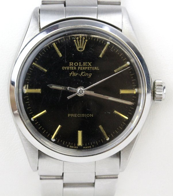 Black Dial Rolex Air King 5500 Oyster Band Wrist Watch