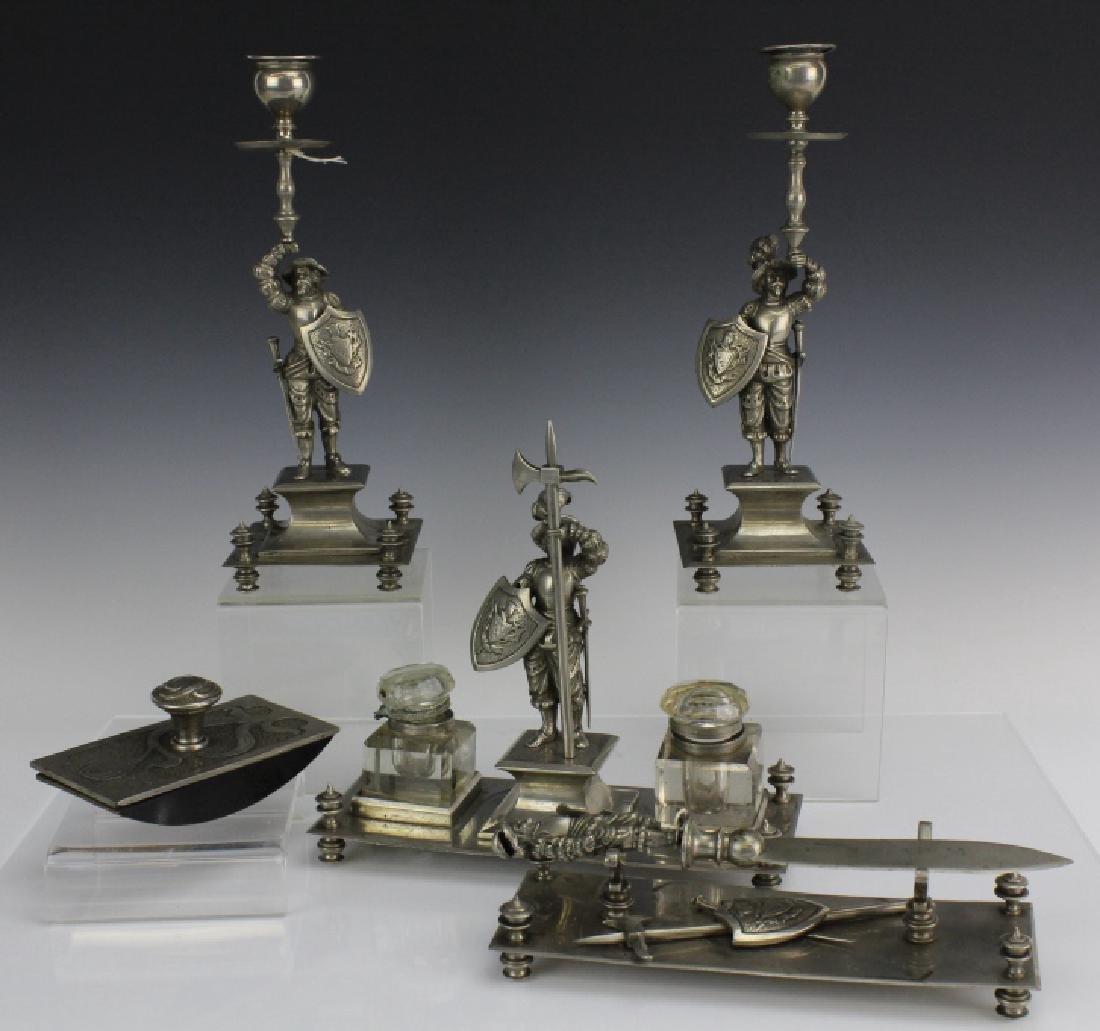 5pc Conquistador Soldier Inkwell Candlestick Desk Set
