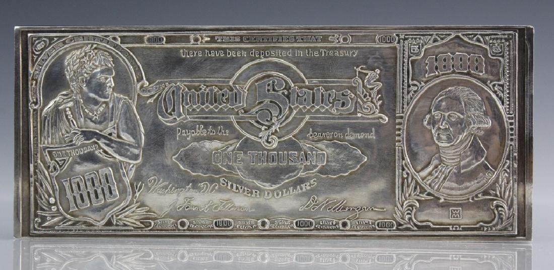 16 ozt .999 1lb $1000 US Certificate Silver Bar