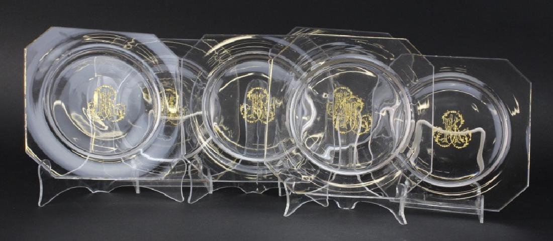Set of 6 Le Rosey French Crystal Engraved Salad Plate