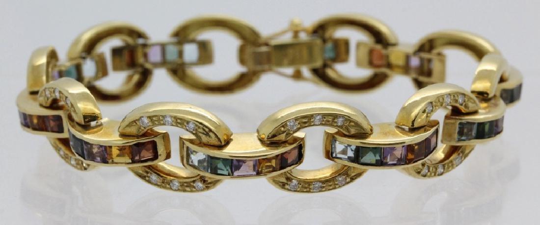 Retro 18k Gold Diamond Rainbow Gemstone Bracelet 31.6g
