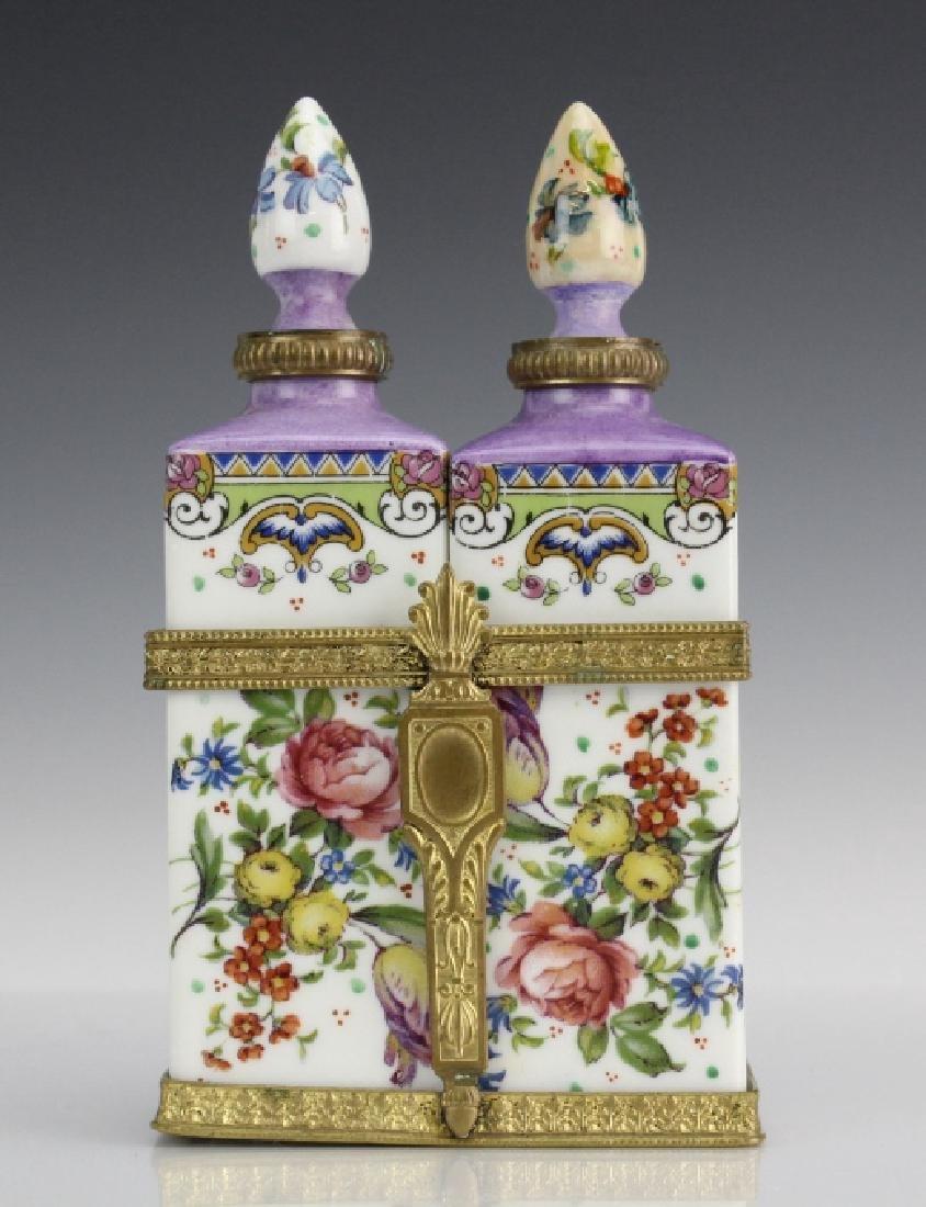 French Floral Porcelain Perfume Bottles in Holder