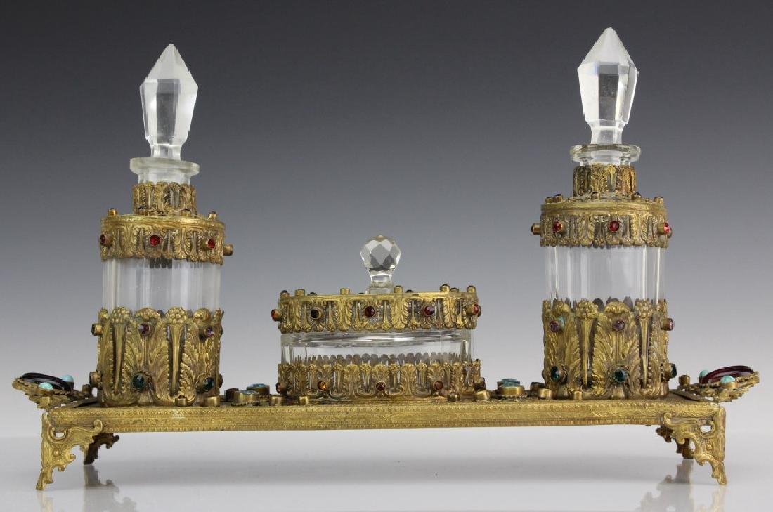 Antique Jeweled Gilt Bronze Perfume Bottle Set
