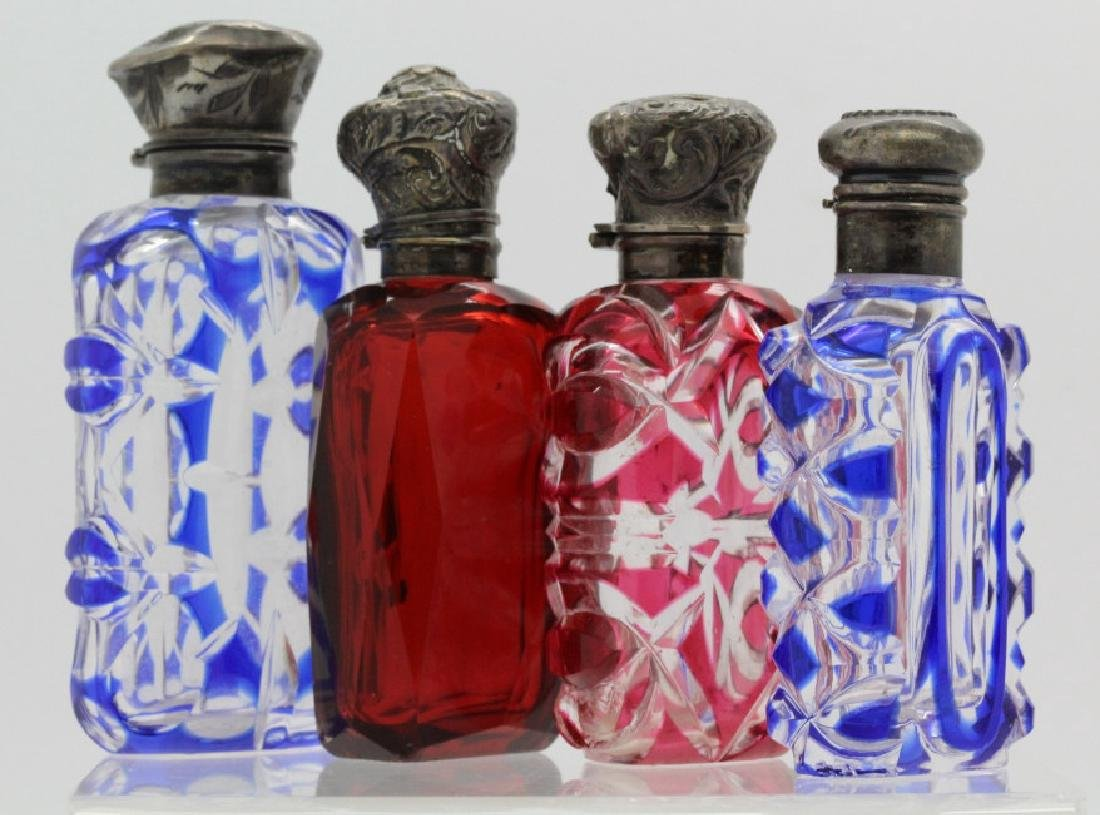 4 Cut to Clear Ruby Glass Sterling Perfume Bottles