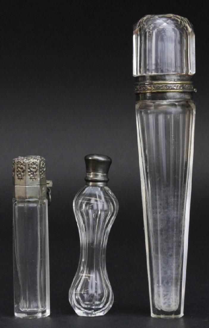 LOT of 3 Antique Panel Cut Glass Perfume Bottles