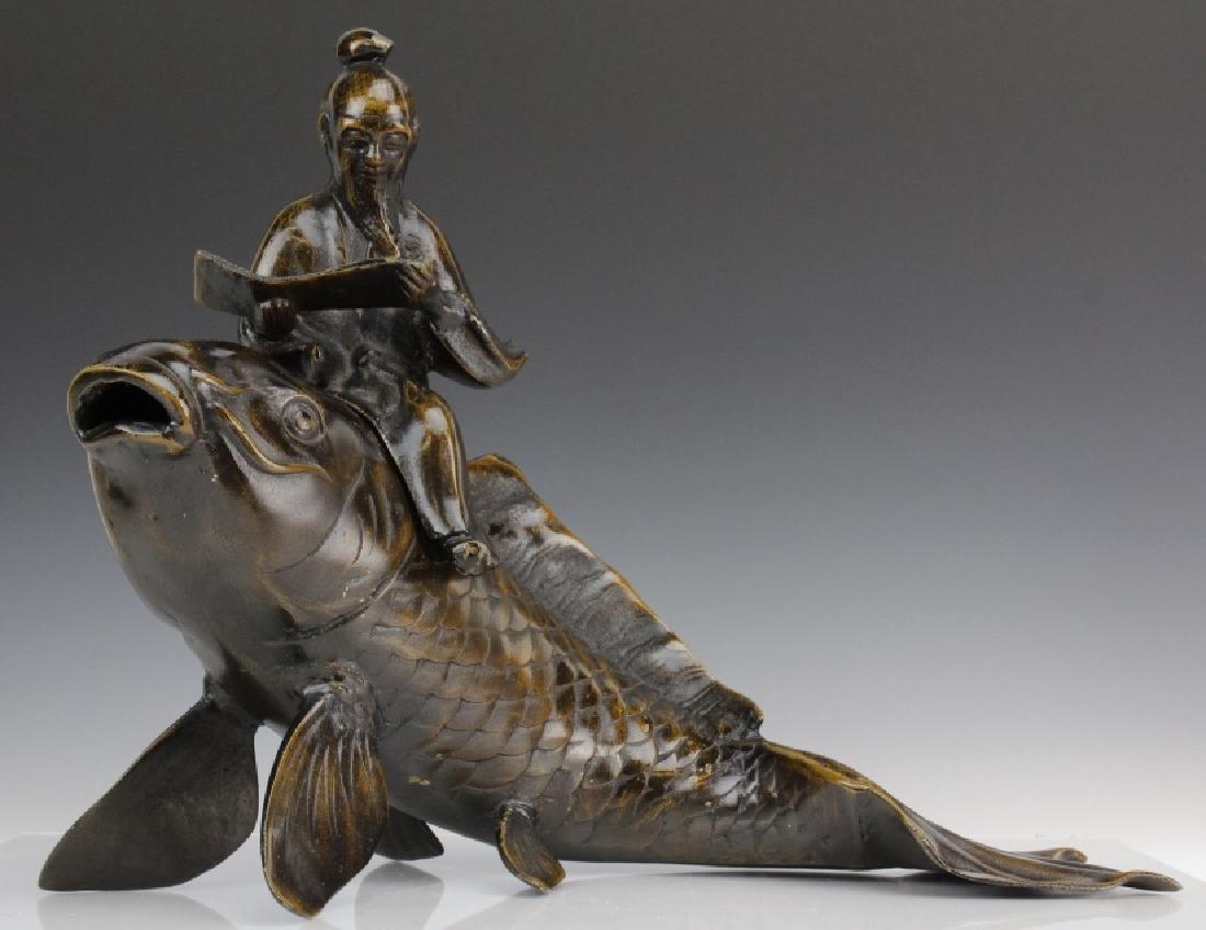Japanese Meiji Period Bronze Koi w/ Scholar Statue