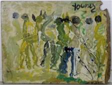 Signed Purvis Young Outsider Dancers Folk Art Painting
