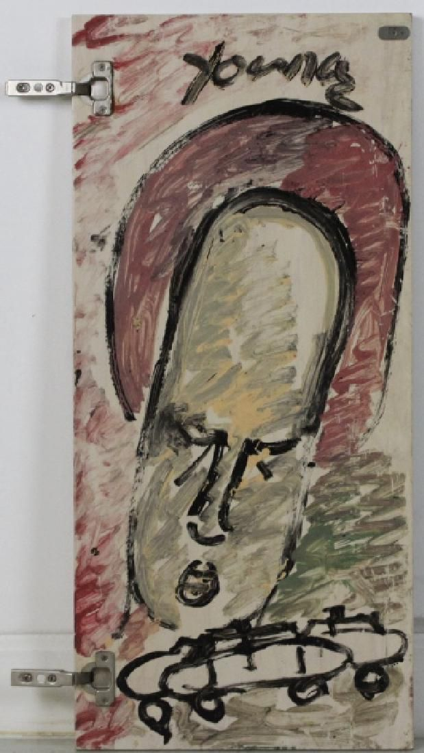 Signed Purvis Young Outsider Angel Folk Art Painting