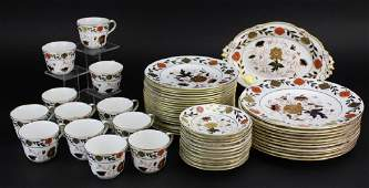 55 pc Royal Crown Derby Asian Rose Porcelain China Set