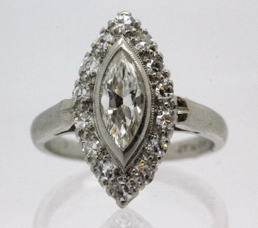 Ladies Art Deco 1 Ct TW Marquise Diamond Platinum Ring