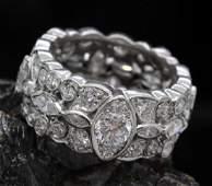 Platinum Art Deco Era Triple Diamond Eternity Band Ring