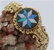 Ornate Victorian Revival Opal 14K Gold 7 Bracelet 30g