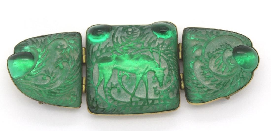 SIGNED Rene Lalique Green French Art Biches Pin Brooch