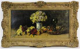 Signed EMILE CARABAIN Floral Still Life Oil Painting