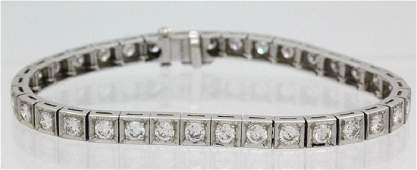Art Deco Platinum 425 Ct Diamond Line Tennis Bracelet