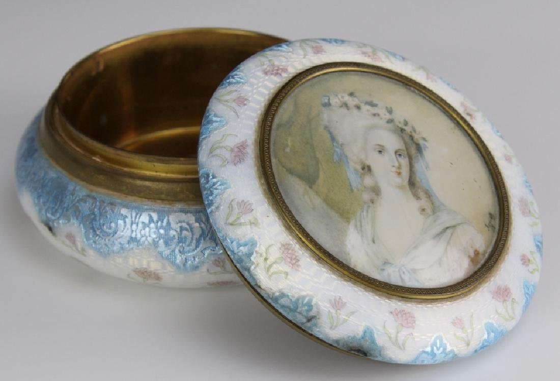 French Blue Guilloche Enamel Pompadour Powder Box