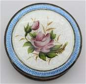English Rose Guilloche Enamel Silver Powder Box