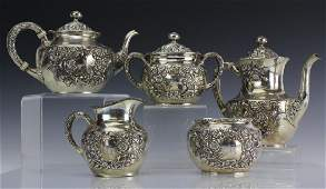 UNGER BROTHERS Sterling Silver 5 Pc Tea Set 1301g