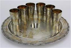 Japanese 800 Silver Gold Bamboo Sake Cups w/ Tray
