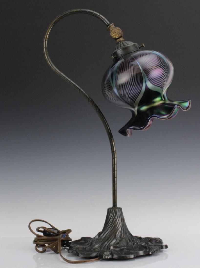 Signed Stuart Abelman Studio Art Glass Table Lamp Shade