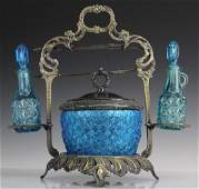 Victorian Era Blue Glass Pickle Castor or Relish Stand