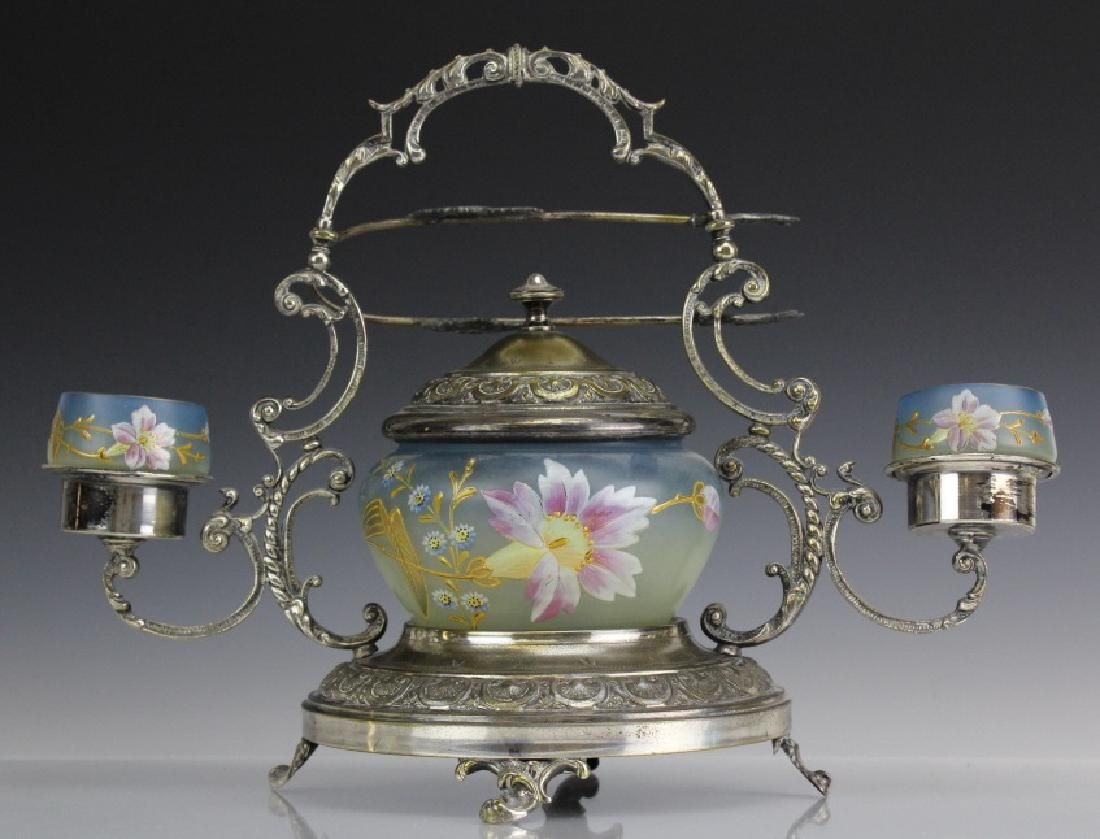 Victorian Era Silverplate Enameled Glass Pickle Castor