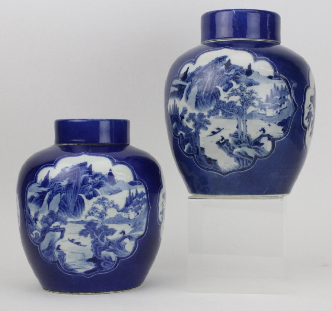 Pair of Fine Chinese Porcelain Blue White Ginger Jars
