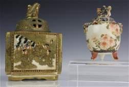 2 Japanese Satsuma Figural Lidded Censer  Koro