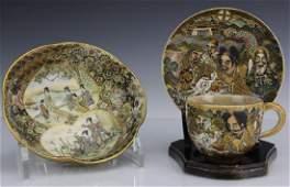 Antique Japanese Satsuma Tea Cup Saucer Bowl