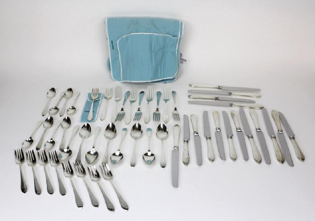 50pc Tiffany & Co Sterling Siver Faneuil Flatware Set