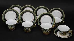 8 Versace Gold Ivy ROSENTHAL Porcelain Tea Cup & Saucer