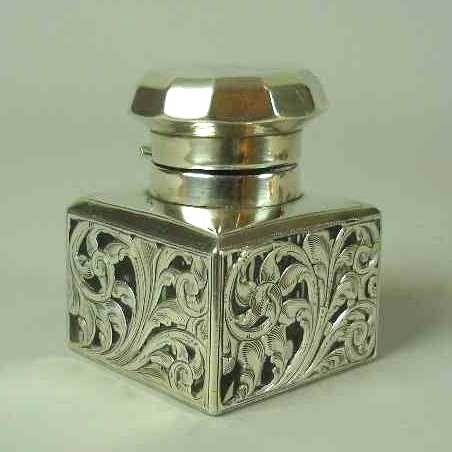 1: SILVER OVERLAY CRYSTAL INKWELL: