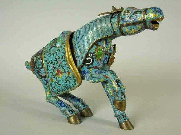 12: LARGE CHINESE CLOISONNE HORSE FIGURE: