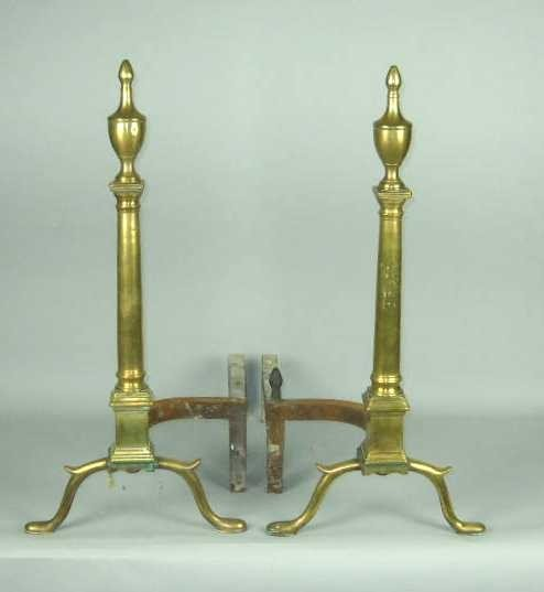 17: PAIR OF AMERICAN BRASS & WROUGHT IRON ANDIRONS: