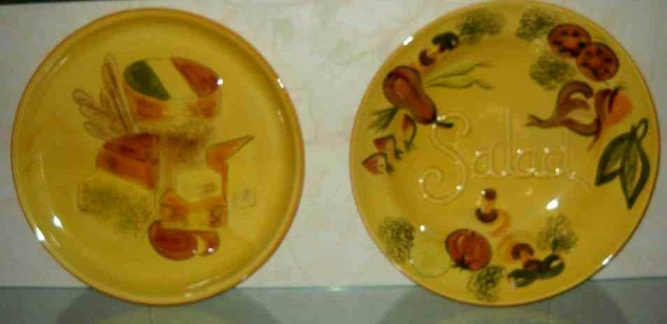 LOS ANGLES POTTERIES SALAD BOWL & UNDERPLATE: