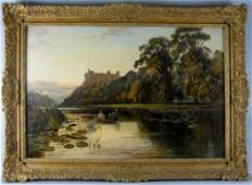 """J. SYER """"RIVERSCAPE WITH CASTLE"""" OIL ON CANVAS:"""