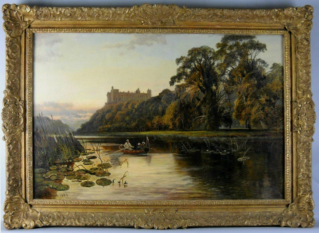 "J. SYER ""RIVERSCAPE WITH CASTLE"" OIL ON CANVAS:"
